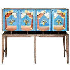 Important Gio Ponti Cabinet with Painted Glass Panels by Fontana Arte circa 1939