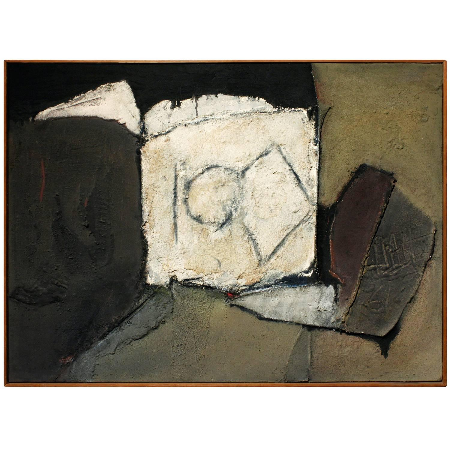 """Irving Gates """"Rows End"""" Mixed Media Sculpted Painting, 1961"""