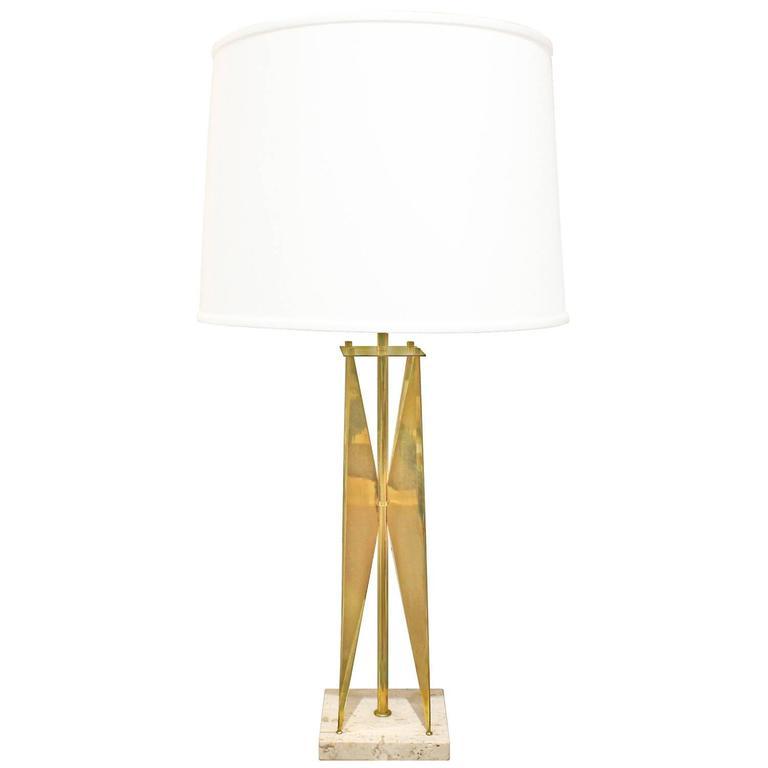 Gerald Thurston Sculptural Brass Table Lamp, 1950s