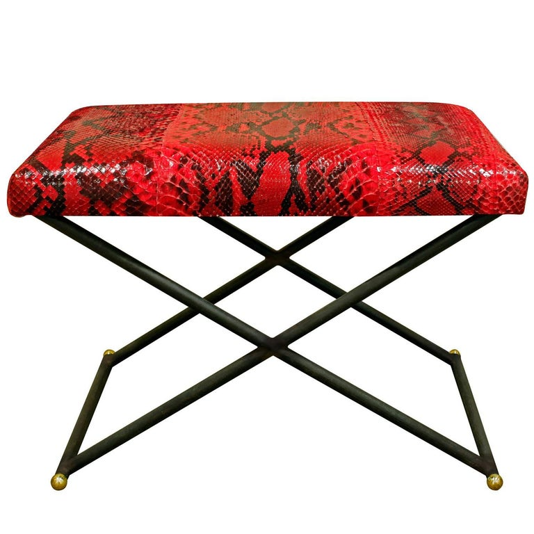 Karl Springer X Bench with Red Python Seat, 1970s For Sale