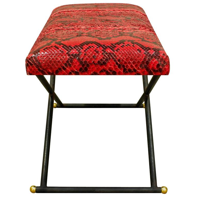 Karl Springer Bench with Red Python Seat, 1970s 3