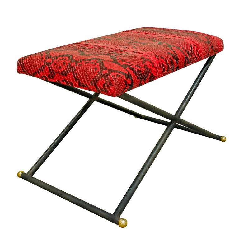 Karl Springer Bench with Red Python Seat, 1970s 2
