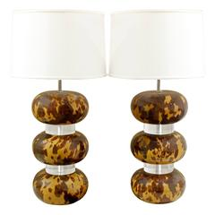 Karl Springer Pair of Tortoise Shell Lacquer Table Lamps, 1970s
