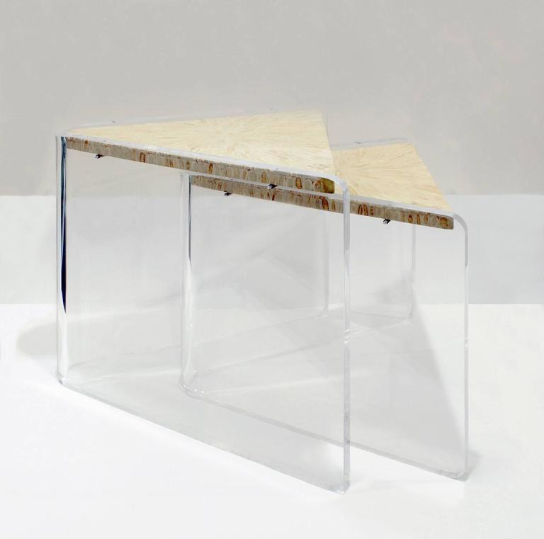 Late 20th Century Enrique Garcel Pair Of Lucite And Bone Nesting Tables,  1970s For Sale
