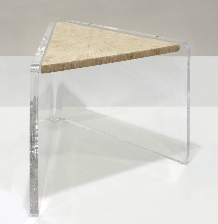 Enrique Garcel Pair Of Lucite And Bone Nesting Tables, 1970s 2
