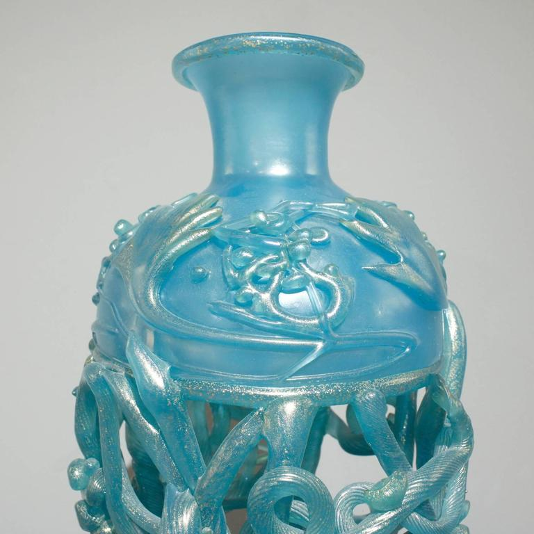 Modern Ermanno Nason Hand-Blown Vase in Opalescent Blue Glass & Gold Overlay, 1967 For Sale