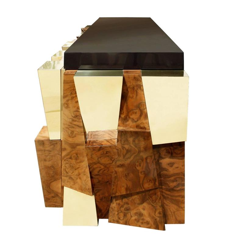 Hand-Crafted Paul Evans Faceted Burl and Brass Credenza, 1965 For Sale