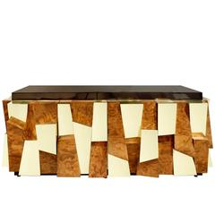 Paul Evans Faceted Burl and Brass Credenza, 1970s