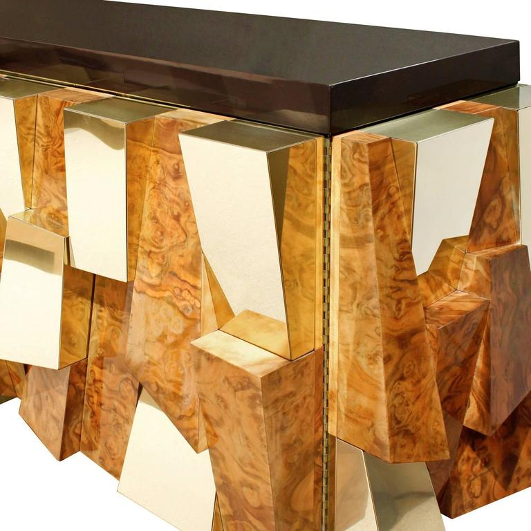 Modern Paul Evans Faceted Burl and Brass Credenza, 1965 For Sale