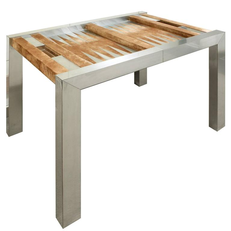 Backgammon Table Model # PE 742 In Chrome Plated Steel, Suede, Aluminum