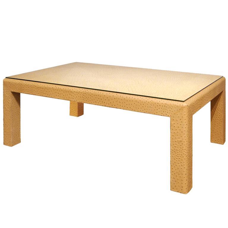 Gentil Karl Springer Ostrich Skin Coffee Table, 1980s For Sale