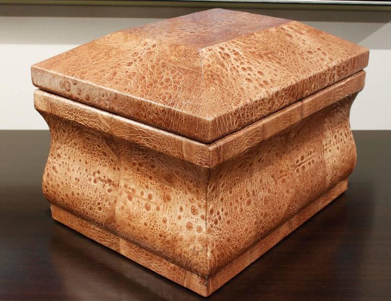 Sculptural lidded box covered in bullfrog skin with brass hinge by Karl Springe, American, 1970s.