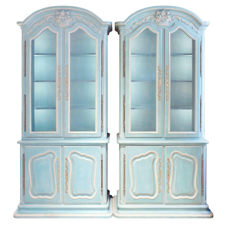 "Pair of ""Bressan"" Louis XV Illuminated Display Cabinets by Auffray & Co. 1969 For Sale"