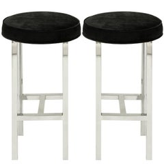 Pace Collection Pair of Bar Stools in Polished Stainless Steel, 1968