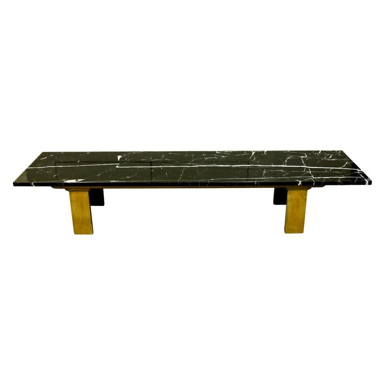 Chic Coffee Table Black Marble Slab Top With Brass Legs American 1950s