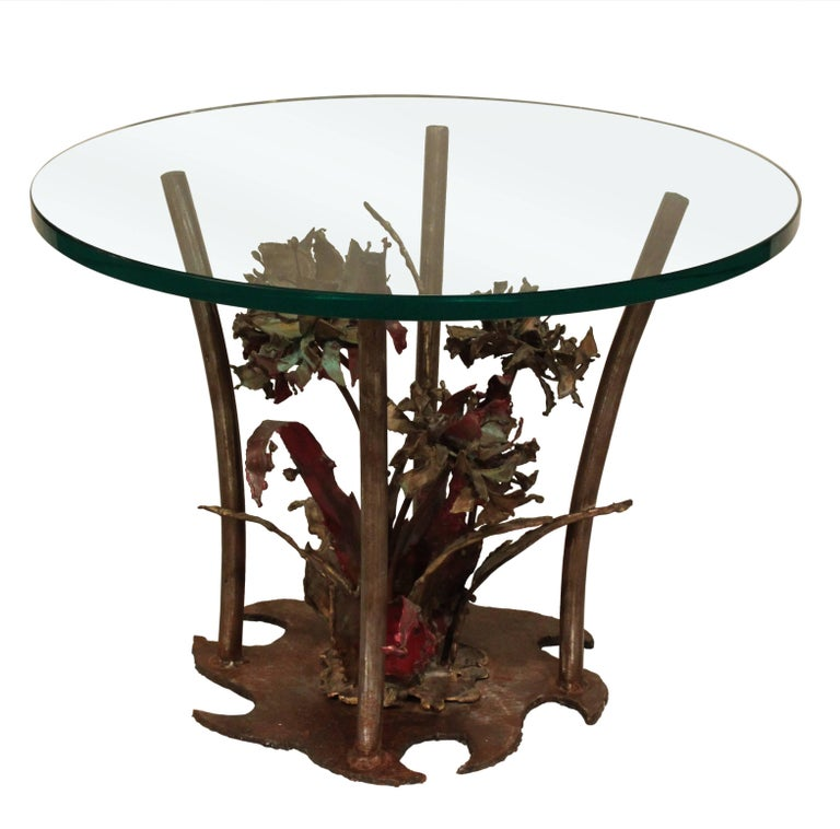 Silas Seandel Studio Made Bronze Table with Flowers, 1975 For Sale