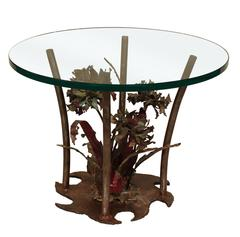 Silas Seandel Studio Made Bronze Table with Flowers, 1975