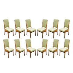 Paolo Buffa Set of 12 Handcrafted Dining Chairs, circa 1940