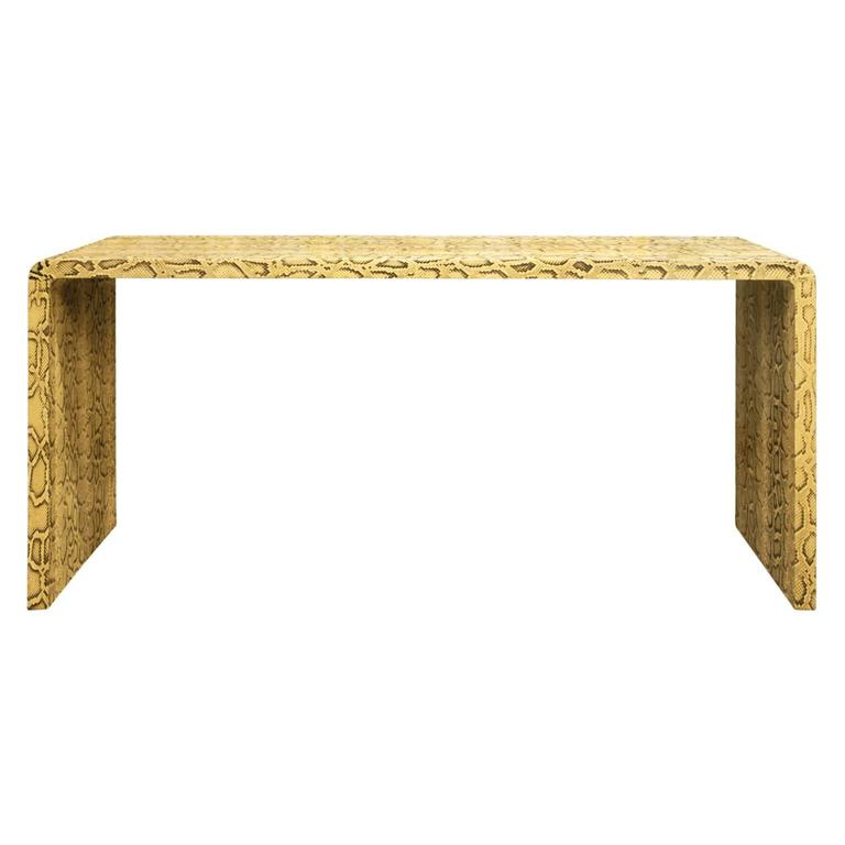 Karl Springer Natural Python Waterfall Console Table, 1970s