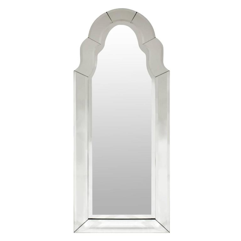 Elegant Arc Top Beveled Wall Hanging Mirror, 1960s
