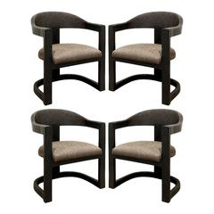 Karl Springer Set of Four Ostrich Onassis Chairs, 1984