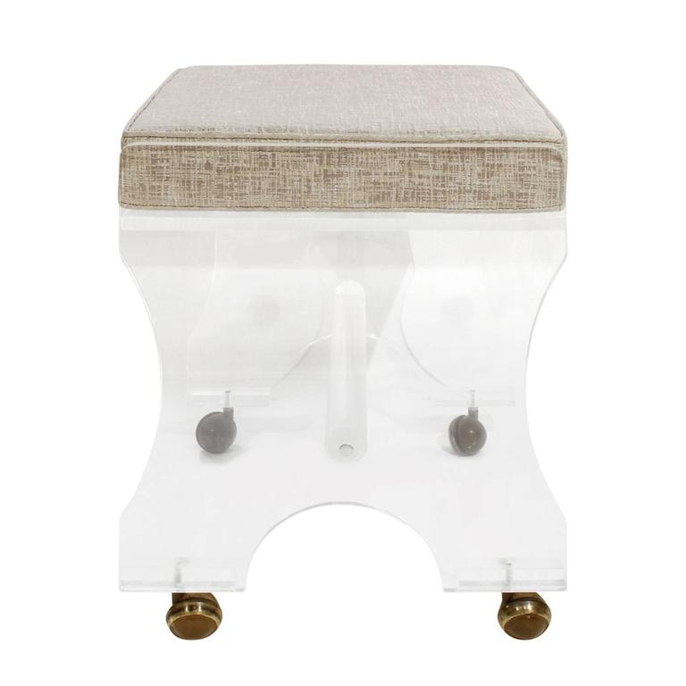 Modern Chic Lucite Upholstered Bench on Castors, 1970s For Sale