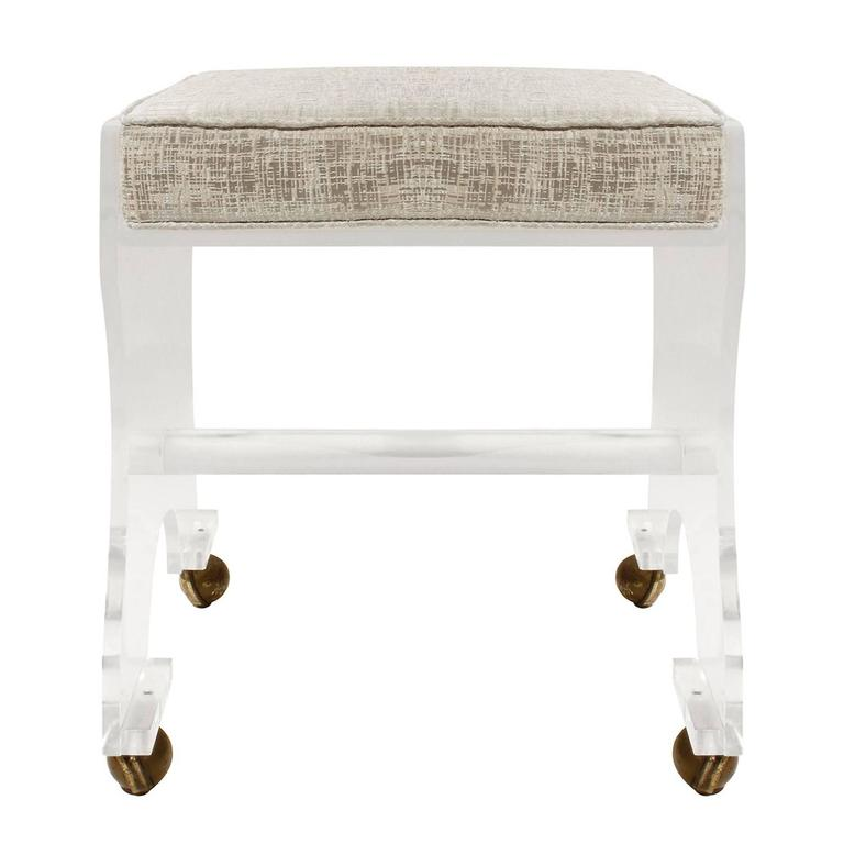 Chic Lucite Upholstered Bench on Castors, 1970s