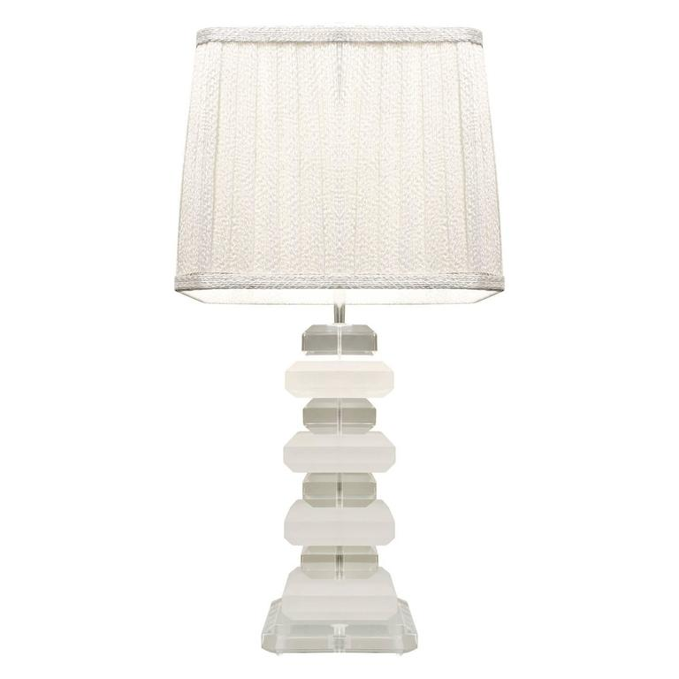 Sculptural Clear and Sand Blasted Lucite Block Table Lamp, 1970s