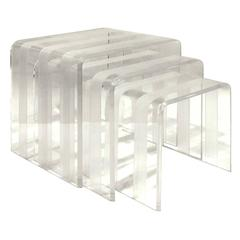 Set of Three Chic Lucite Nesting Tables, 1970s