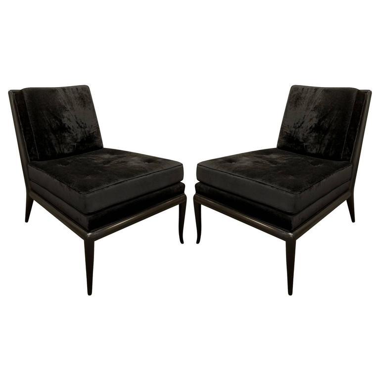 T.H. Robsjohn-Gibbings Pair of Iconic Slipper Chairs in Black Velvet, 1950s