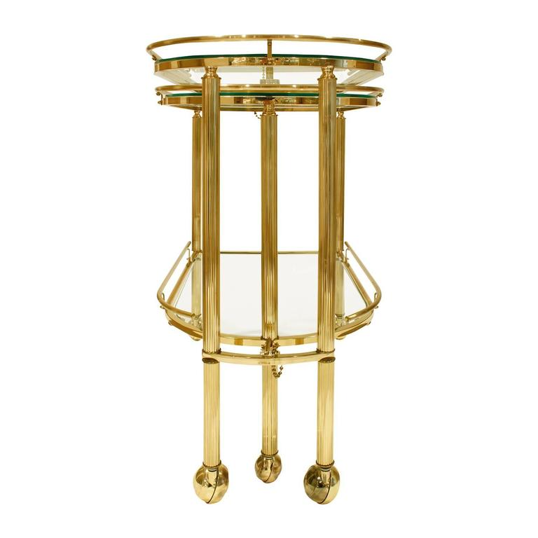 Expandable Rolling Brass And Glass Serving Cart 1960s For