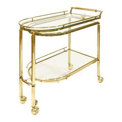 Expandable Rolling Brass and Glass Serving Cart 1960s