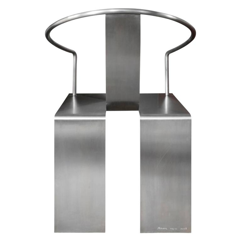 Hand-Crafted Shao Fan Sculptural Stainless Steel Chair, 2000 'Signed, Dated and Numbered' For Sale
