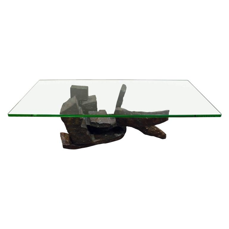 """Philip and Kelvin LaVerne """"Moment of Truth"""" a Unique Bronze Coffee Table 1970s"""