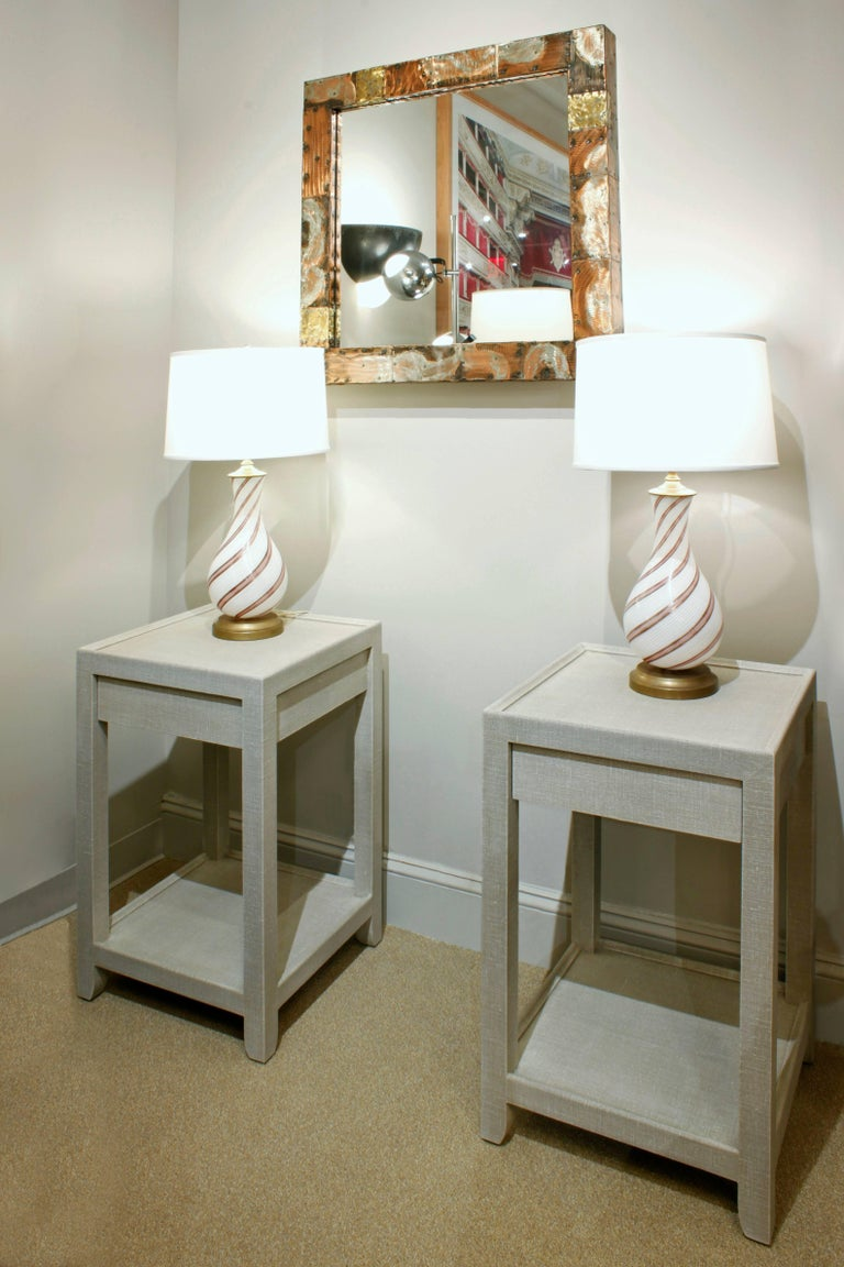 Linen Mary Forssberg Pair of Telephone Style Nightstands with Drawer For Sale