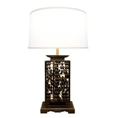 Abacus Table Lamp with Brass Accents, 1940s