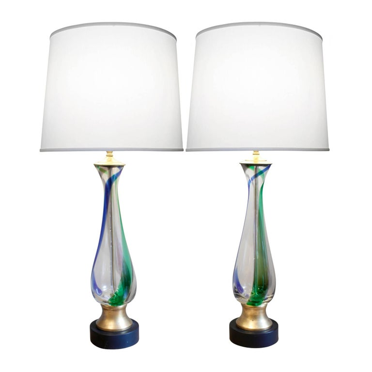 Barovier & Toso Attributed Pair of Handblown Table Lamps, 1950s