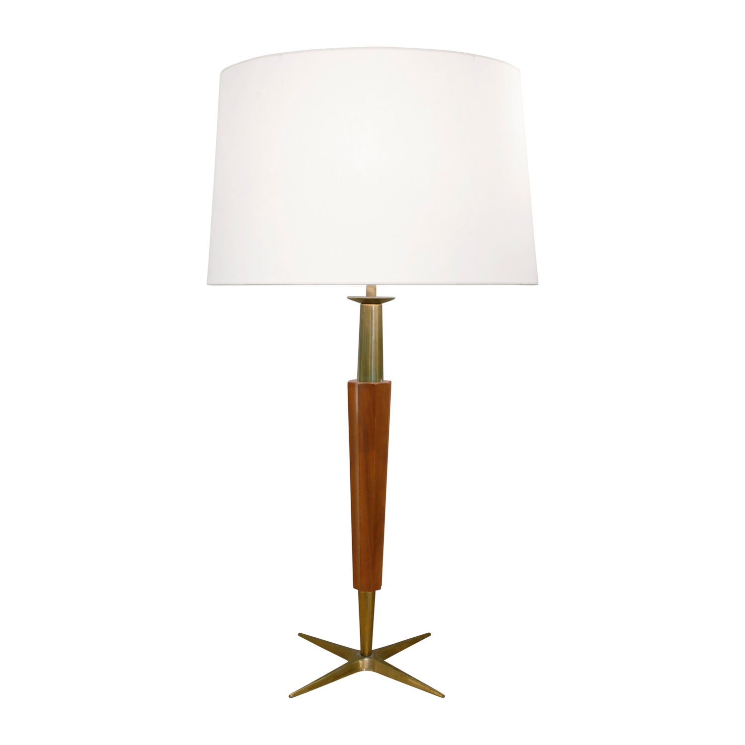Stiffel Fluted Walnut and Brass Table Lamp, 1950s