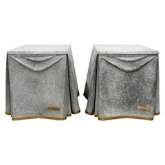 John Dickinson Pair of Rare Galvanized Steel End Tables, 1970s