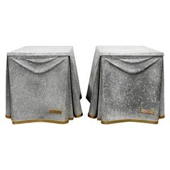 John Dickinson Pair of Rare Galvanized Steel End Tables, 1970s