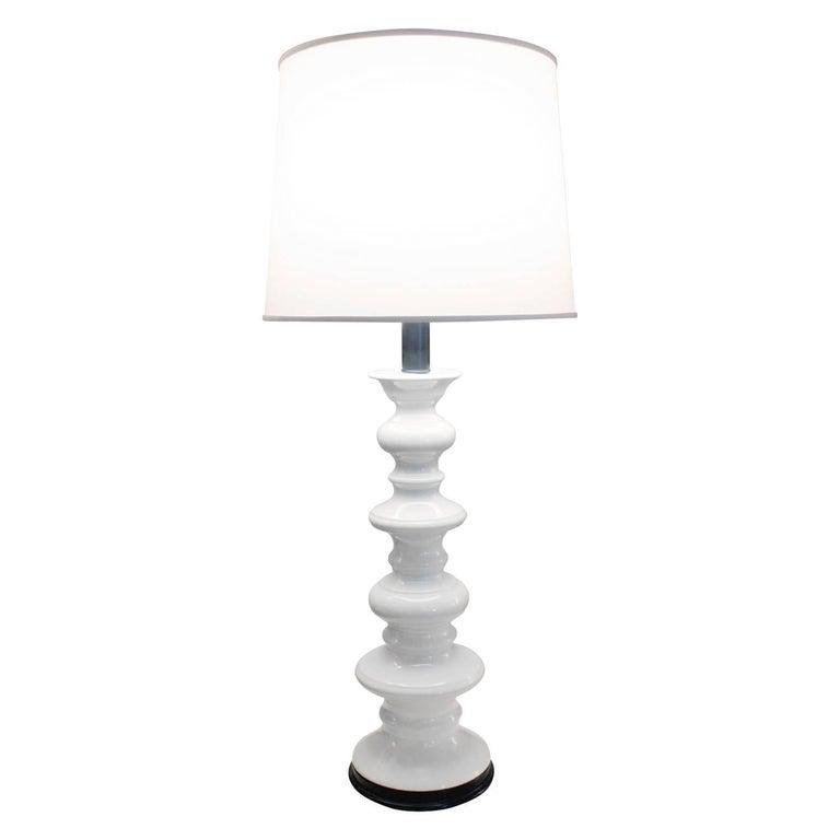 Sculptural White Ceramic Table Lamp, 1960s
