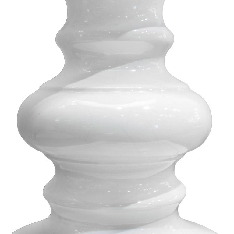 Hand-Crafted Sculptural White Ceramic Table Lamp, 1960s For Sale