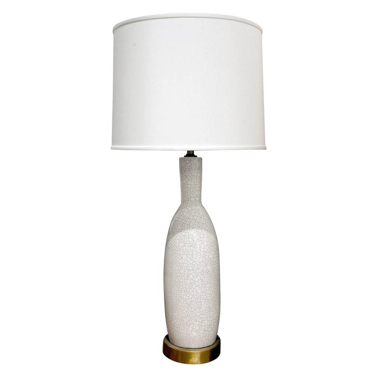 Large White Porcelain Table Lamp With Craquele Glaze 1960s For Sale