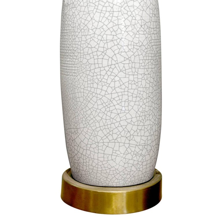 Modern Large White Porcelain Table Lamp with Craquele Glaze, 1960s For Sale