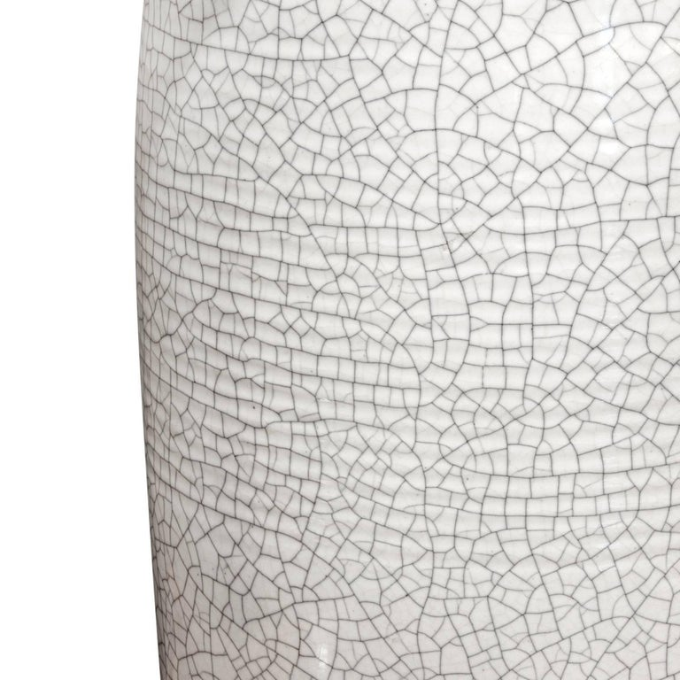 Hand-Crafted Large White Porcelain Table Lamp with Craquele Glaze, 1960s For Sale