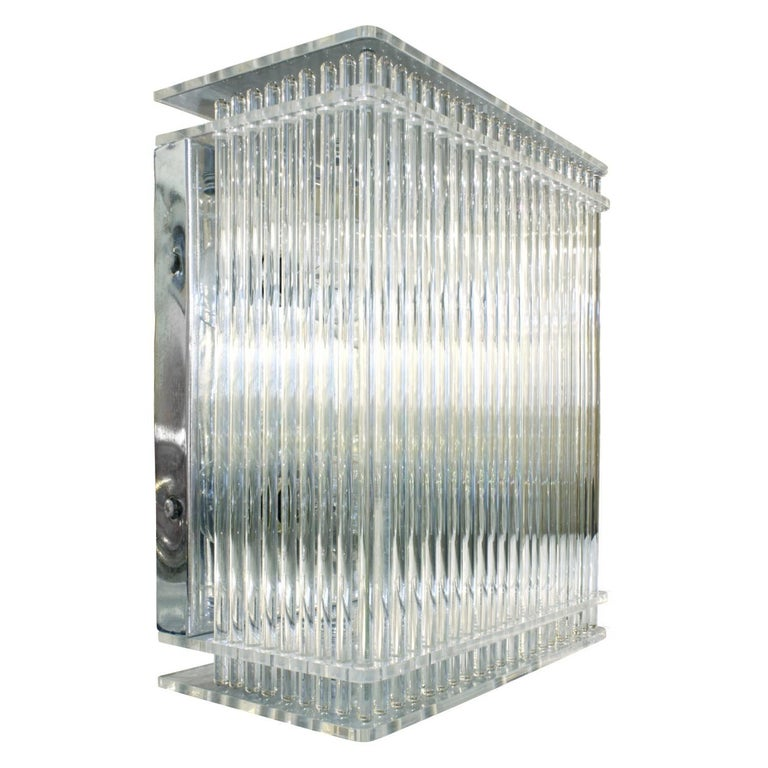 Lightolier Lucite and Glass Rod Fixture, 1970s