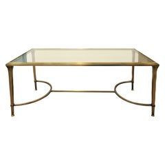 Elegant Bronze Coffee Table with Glass Top, 1960s