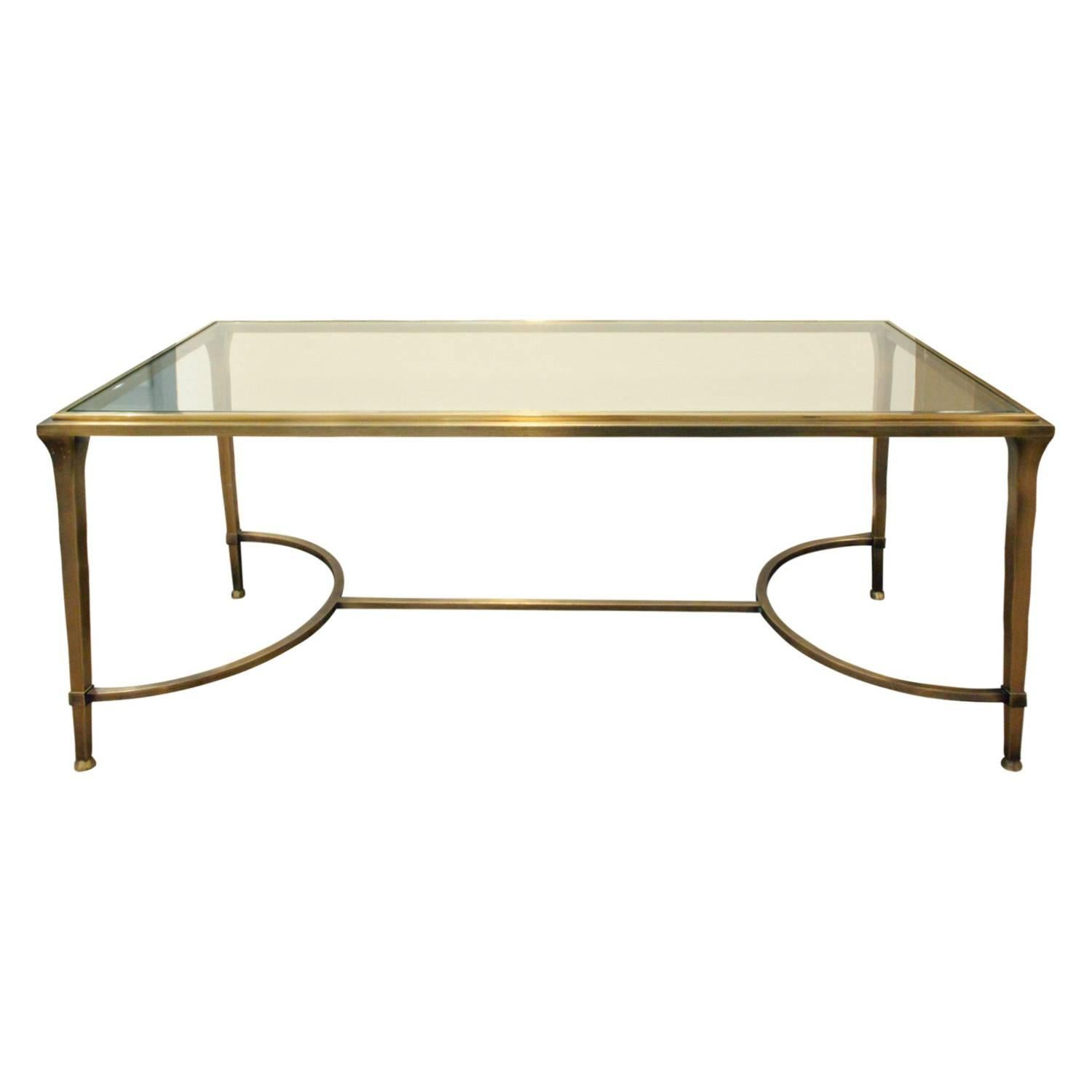Elegant Bronze Coffee Table With Glass Top, 1960s For Sale