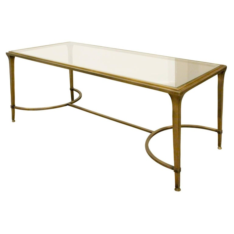 Elegant Bronze Coffee Table With Glass Top 1960s For Sale At 1stdibs