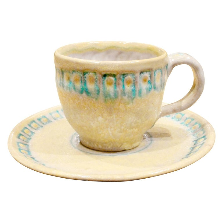 Hand-Crafted Guido Gambone 33 Piece Ceramic Coffee and Espresso Set, 1950s For Sale